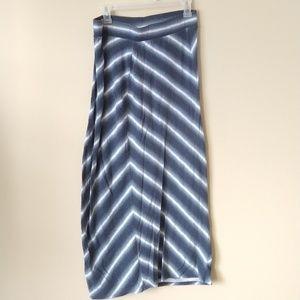 Sonoma Long Blue White Striped Skirt Petite M